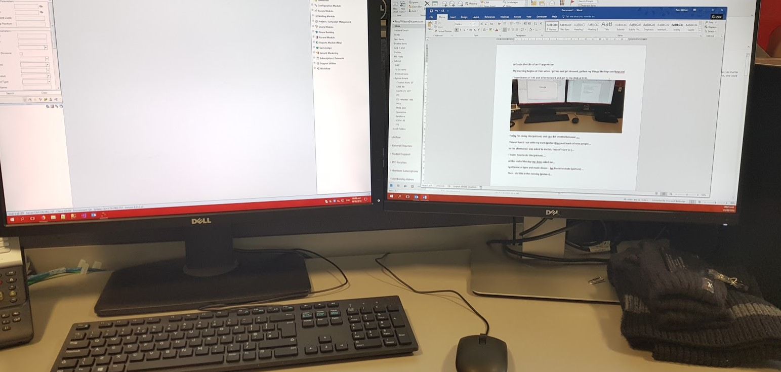 My desk set-up at work - two screens are the best!